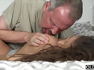 Teen gets super hard fucked in her irritant at the end of one's tether 2 old men together with takes facial
